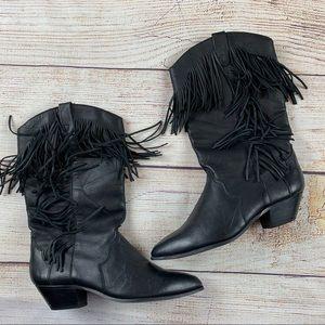 Dingo Fringe Black Leather Western Boots VTG 90s
